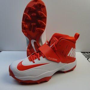 New Mens Orange / White Nike Fooball Cleats 13.5